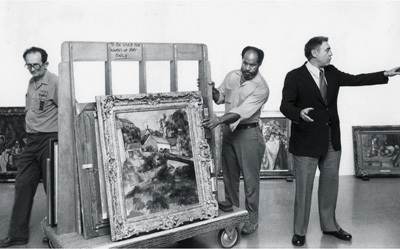 "William Rubin (right) preparing ""Cézanne: The Late Work,"" Museum of Modern Art, New York, 1977. Photo: D. Gordon/The New York Times."