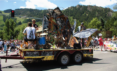 Katie Grinnan, Rubble Division, 2005. Installation view, Fourth of July parade, Aspen, Colorado. Photo: Roxanne Banks.
