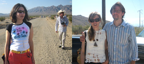 Left: Lisa Anne Auerbach at the High Desert Test Sites. Right: Andrea Zittel and David Dodge. (Photos: Don Morrison)