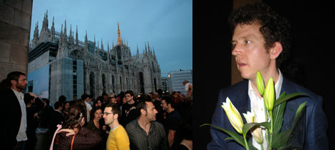 Left: The crowd at the opening. Right: Martin Creed.