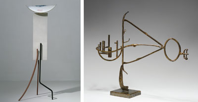 "Left: David Smith, Tanktotem IX, 1960, painted steel, 90 x 33 x 24 1/8"". Right: David Smith, Agricola XIII, 1953, steel and stainless steel, 35 1/4 x 42 1/2 x 12""."
