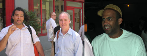 Left: Samson Projects owner and director Camilo Alvarez with dealer Jeff Bailey. Right: Artist Eric Wesley.