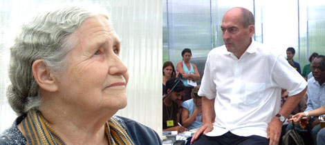 Left: Writer Doris Lessing. (Photo: Sarah Thornton) Right: Rem Koolhaas. (Photo: Claire Bishop)