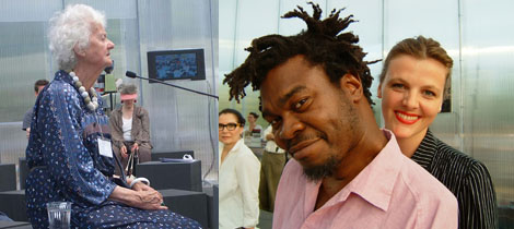 Left: Philosopher Mary Midgley. (Photo: Claire Bishop) Right: Artist Yinka Shonibare and Maxa Zoller. (Photo: Sarah Thornton)