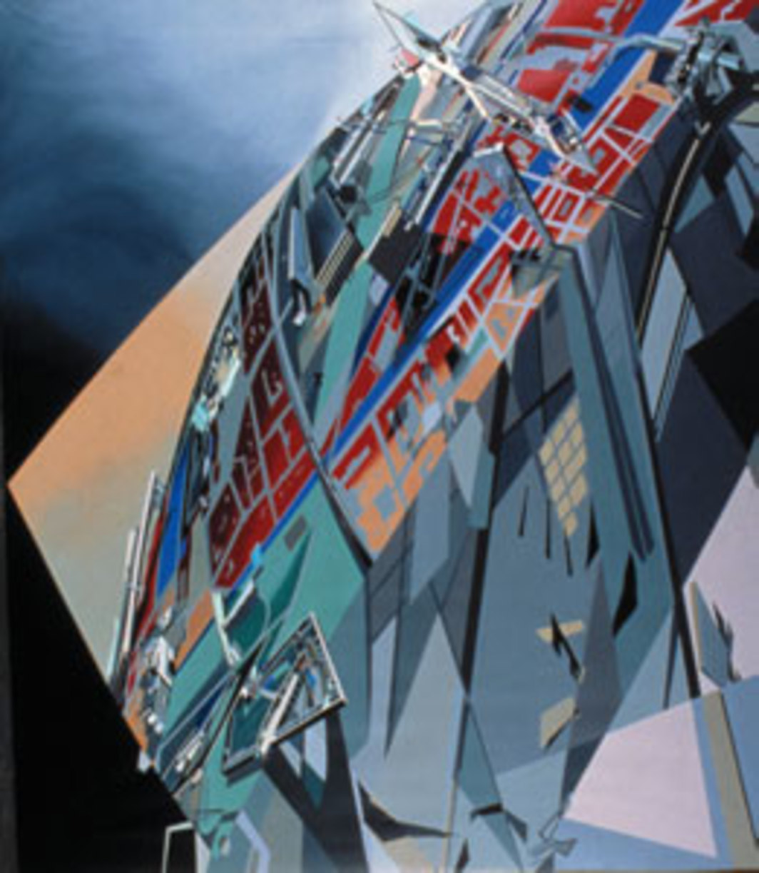 "Zaha Hadid, The World (89 Degrees), 1983, acrylic on canvas, 83 7/8 x 72 1/16""."