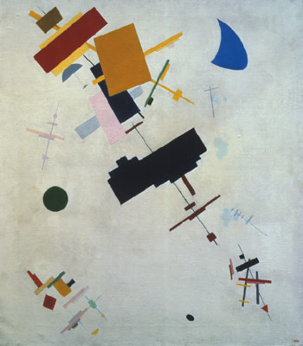 "Kazimir Malevich, Suprematism (Supremus No. 56), 1916, oil on canvas, 31 3/4 x 28""."