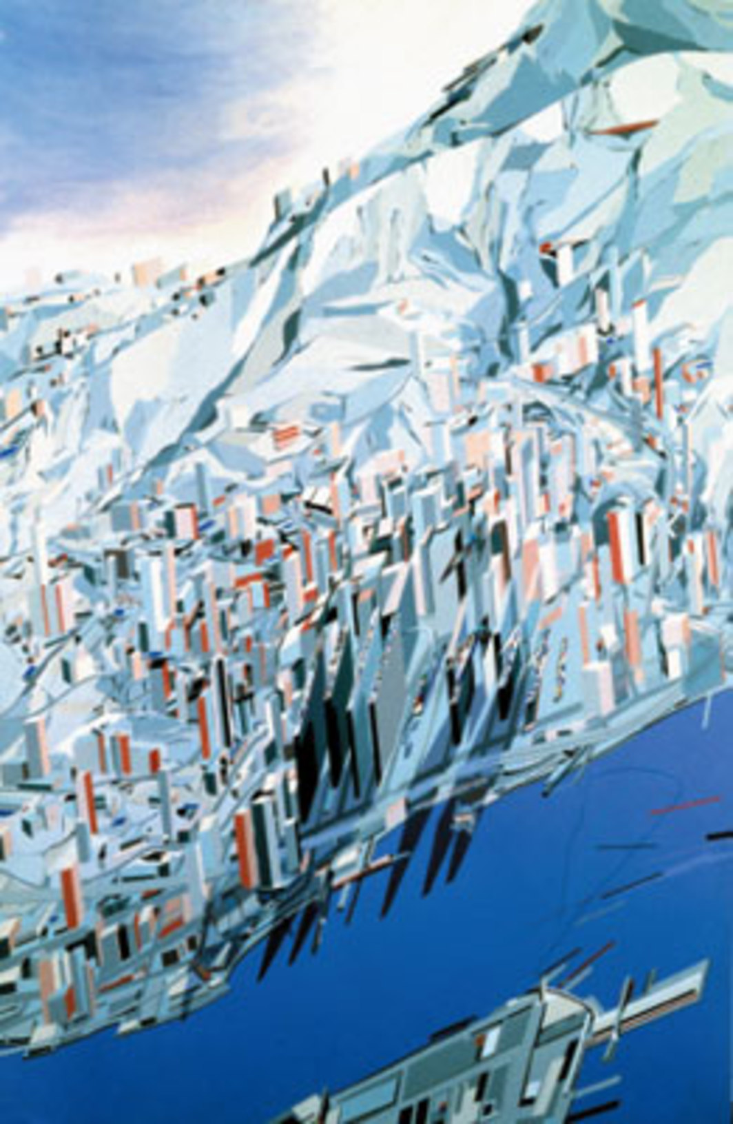 "Zaha Hadid, The Peak: Blue Slabs, 1983, acrylic on paper, 111 x 72 1/6"". From the project The Peak, Hong Kong, 1982–83."
