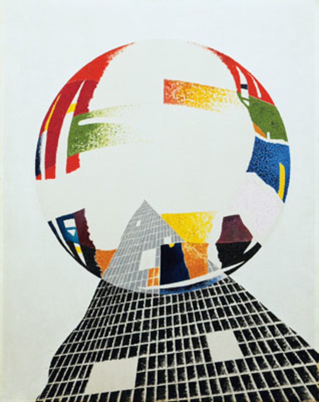 "László Moholy-Nagy, Nuclear I, CH, 1945, oil on canvas, 38 x 30""."