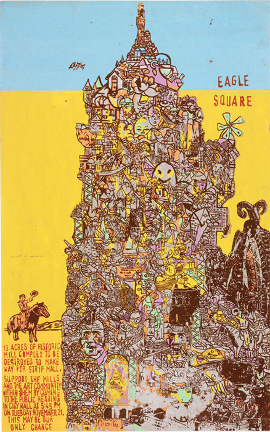 "Brian Chippendale, Save Eagle Square, 2001, silk screen on paper, 40 x 25"". From ""Wunderground."""