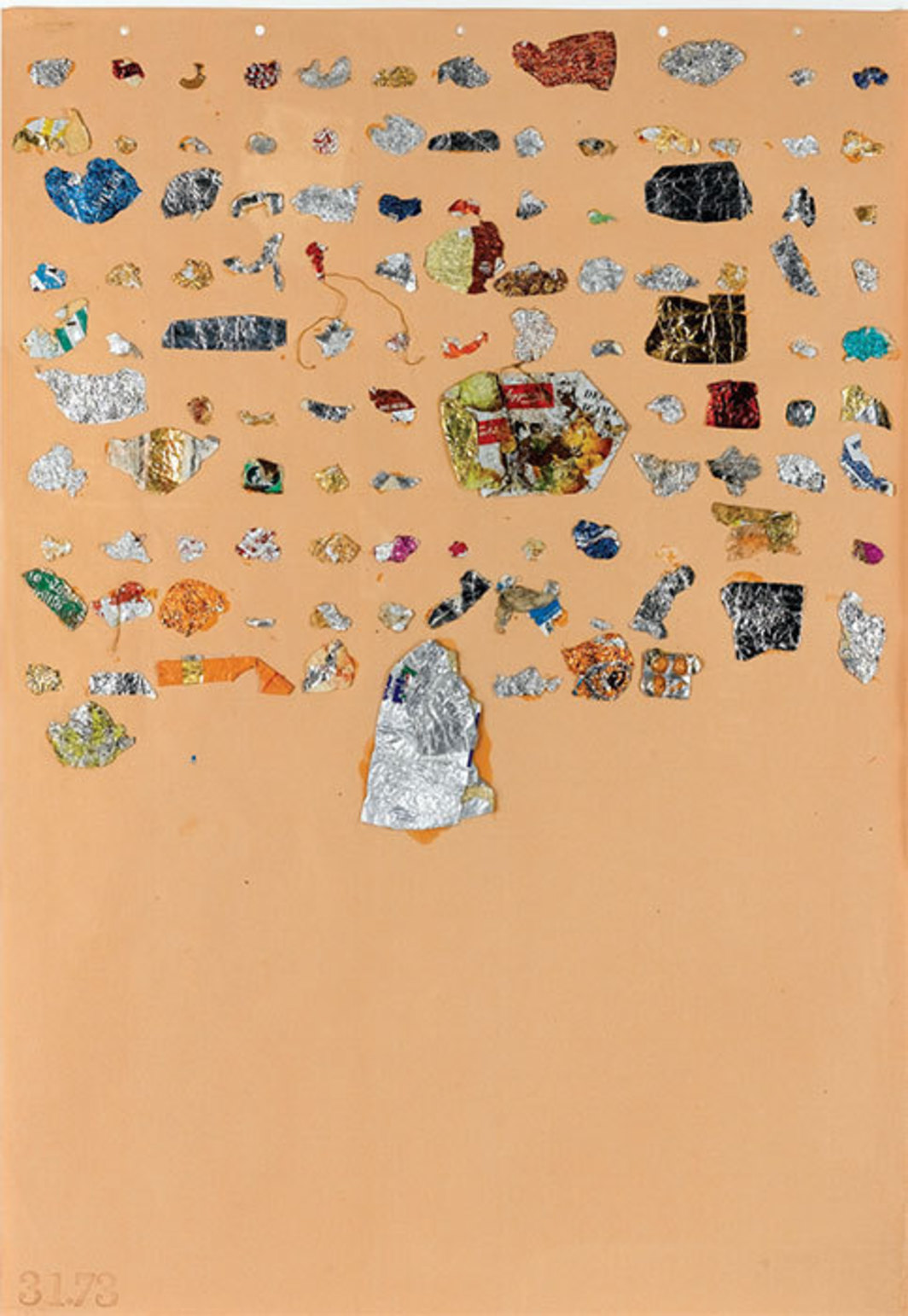 "John Armleder, Untitled, 1982, collage on paper, 26 x 19""."