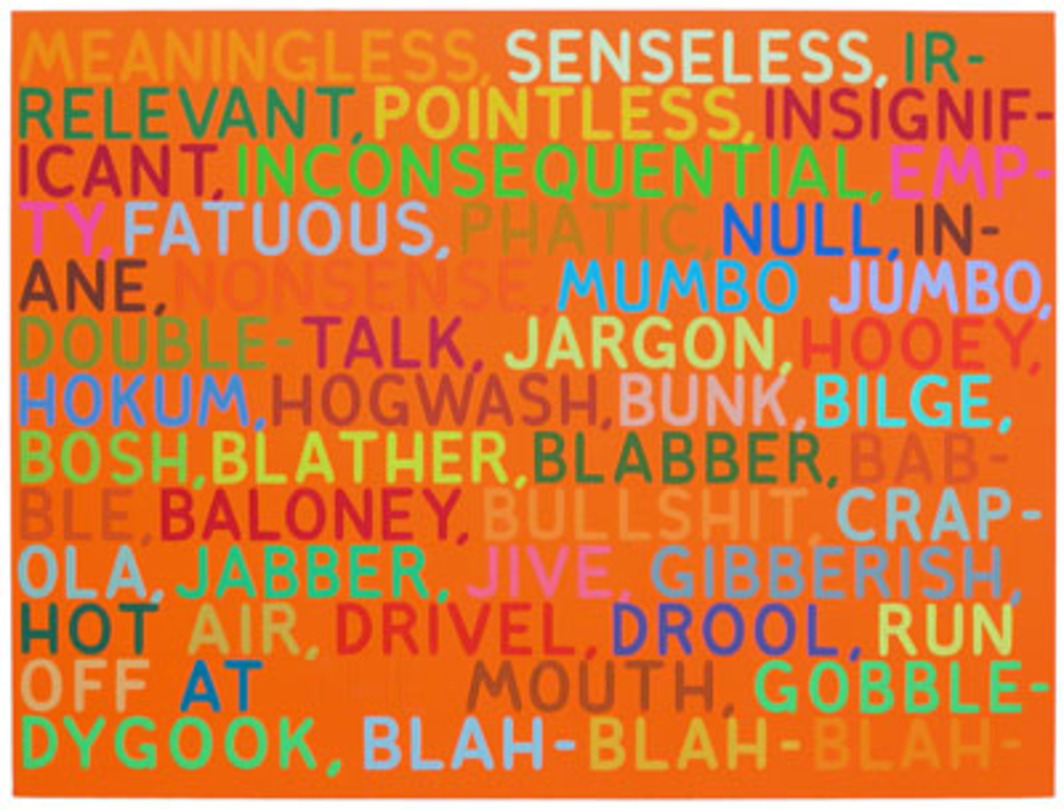 "Mel Bochner, Meaningless, 2003, oil and acrylic on canvas, 45 x 60""."
