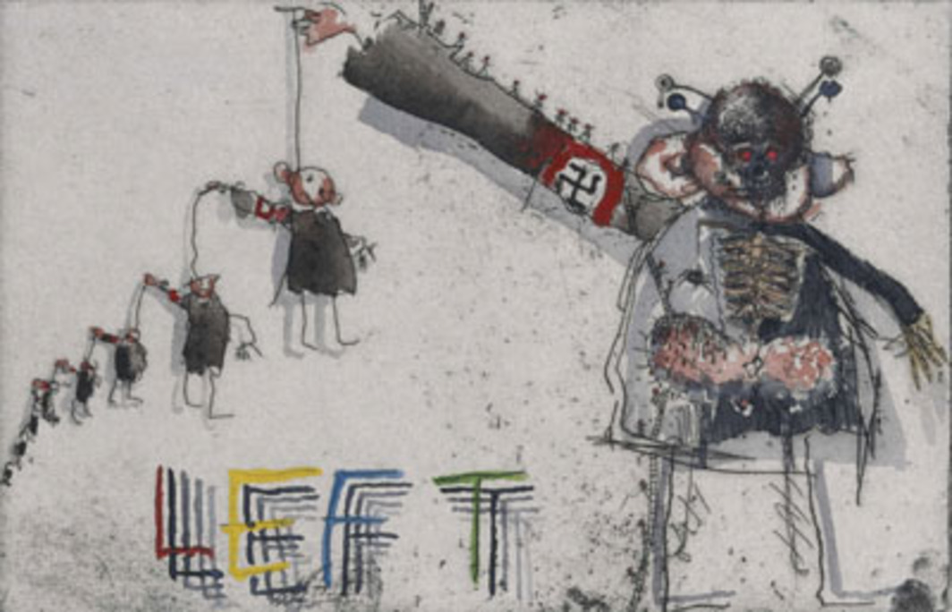 Jake and Dinos Chapman, Disasters of War IV, 2001, one of 83 hand-colored etchings with watercolor, each 9 5/8 x 13 9/16.