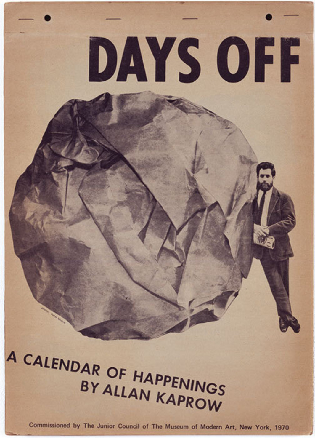 "Allan Kaprow, Days Off: A Calendar of Happenings, 1968, photo offset on newsprint, staples, and shrink-wrap, 10 1/2 x 15 3/8"". © Hauser and Wirth Zürich London."