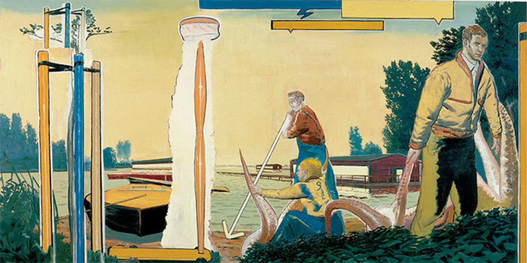 "Neo Rauch, See, 2000, oil on canvas, 6' 9"" x 13' 6""."