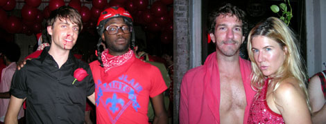 Left: Artists Ryan McNamara and Paul Mpagi Sepuya. Right: Author and artist Mike Albo with Cherry Dazzle.