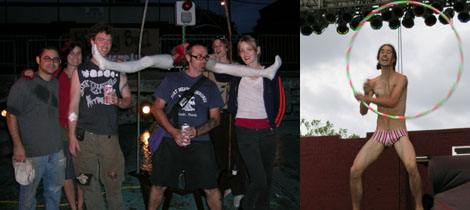 Left: The Madagascar Institute's Jon Jay, Lindsay McCosh, Mike Ross, Ben Sparks, Nicole Whelan, and Violette Olympia with Ring My Bell. Right: Agora II dancer Malcolm.