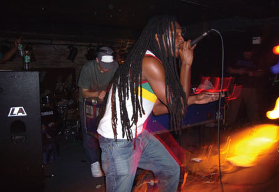 "Youngsta and MC Juakali performing at ""Dub War vs. Forward>>,"" Crash Mansion, New York, 2006. Photo: Michael Wilson."