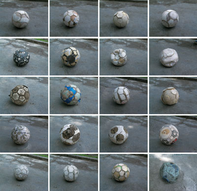 Gabriel Orozco, Balones acelerados (Accelerated Balls) (detail), 2005, 20 of 250 incised soccer balls, dimensions variable.