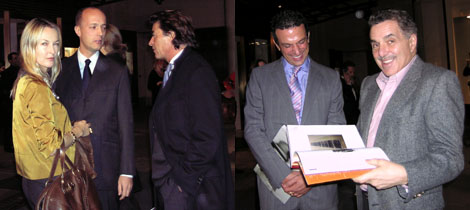 Left: Helena Skarstedt with dealer Per Skarstedt and Christie's Alain Jathiere. Right: Collector Stavros Merjos with Leonard Riggio, chairman of Barnes & Noble. (Photos: David Velasco)