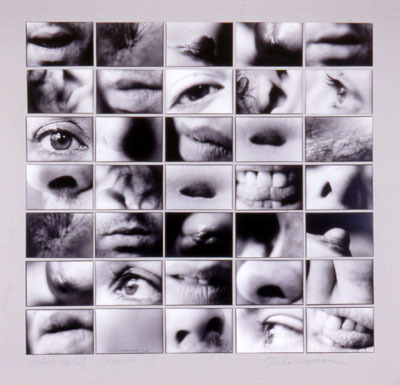 "Carolee Schneemann, Portrait Partials, 1970, thirty-five black-and-white photographs, overall 26 7/8 x 26 3/4""."