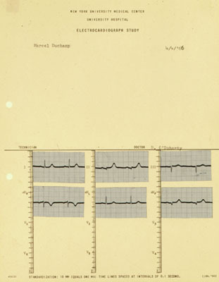 "Brian O'Doherty/Patrick Ireland, Portrait of Marcel Duchamp: Mounted Cardiogram 4/4/66, 1966, ink on paper, 11 x 8 1/2""."