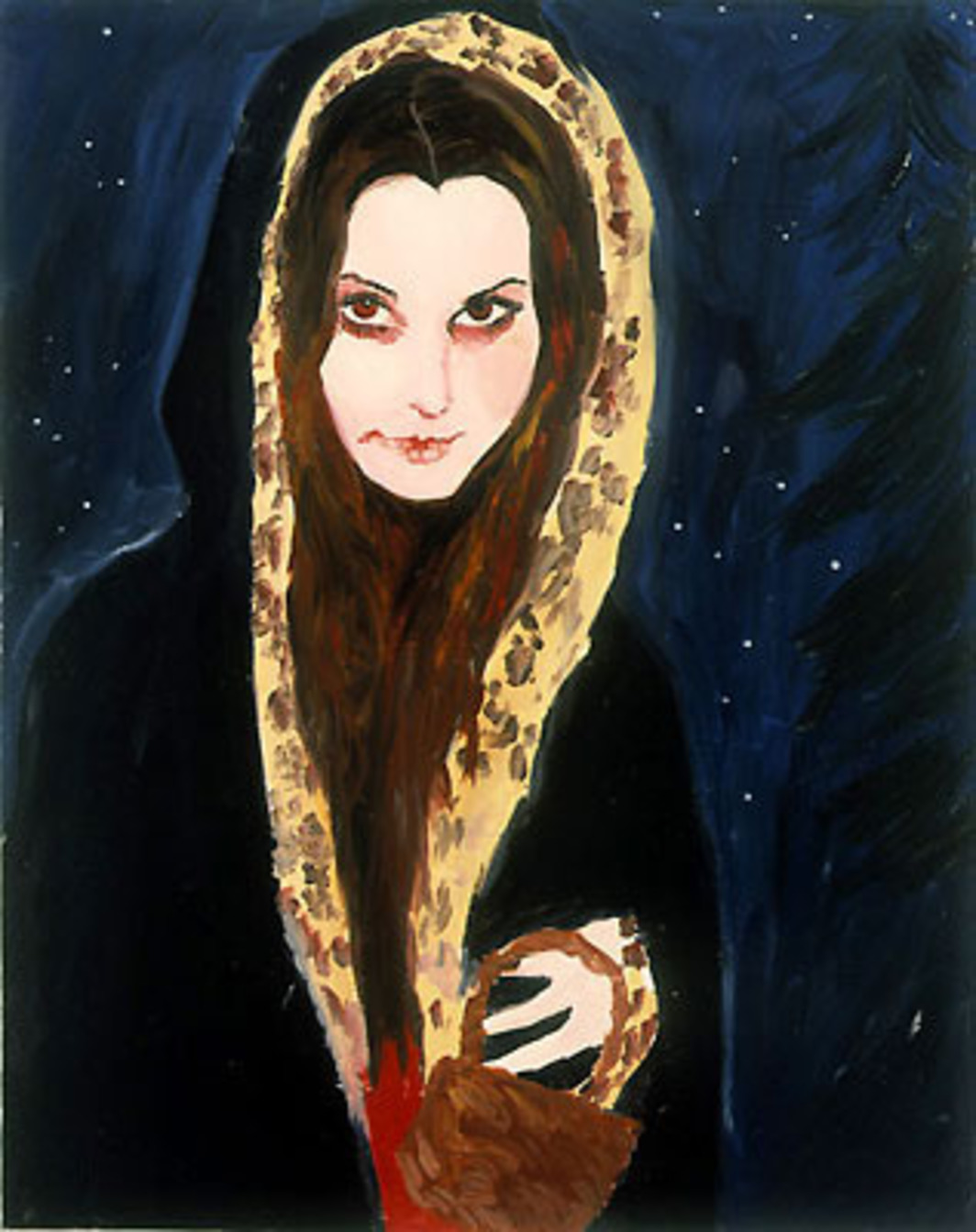 "Karen Kilimnik, Little Red Riding Hood Vampire, 2001, water-soluble oil color on canvas, 20 x 16""."