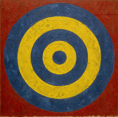 "Jasper Johns, Target, 1958, oil and collage on canvas, 36 x 36""."