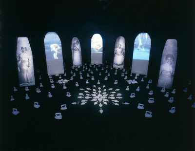 María Magdalena Campos-Pons, Spoken Softly with Mama, 1998, mixed-media installation, dimensions variable.