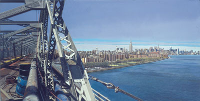 "Richard Estes, View from the Williamsburg Bridge I, 1995, oil on canvas, 17 x 33""."