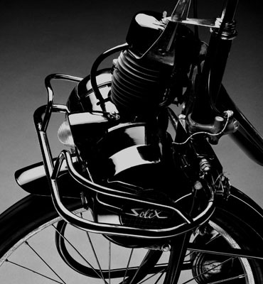"Christopher Williams, Velosolex (Detail 2), 2006, black-and-white photograph, 15 3/4 x 14 1/2""."