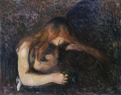 "Edvard Munch, Vampir (Vampire), 1893, oil on canvas, 31 11/16 x 39 9/16""."