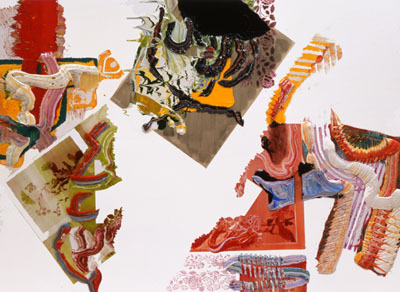 "Pia Fries, Palimpsest-GG, 2005, oil and silkscreen on wood panel, 49 x 67""."