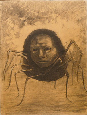"Odilon Redon, The Crying Spider, 1881, charcoal on paper, 18 15/16 x 14 3/8""."