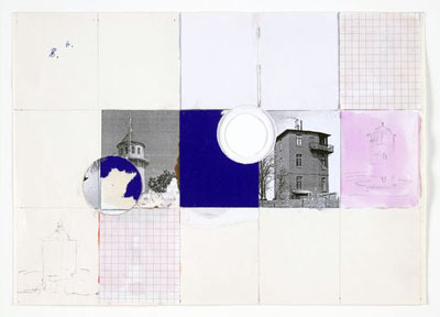 "Manfred Pernice, Untitled (Blue Square, 2 Holes), 1997, cut-and-pasted printed and painted paper with watercolor, pencil, and ballpoint pen on cardstock, 8 1/4 x 11 1/2""."