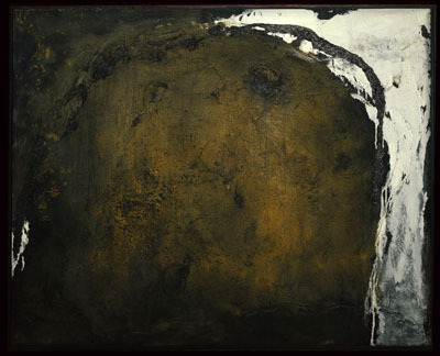 "Emil Schumacher, Nahum, 1961, oil and sand on linen, 39 3/8 x 31 1/2""."