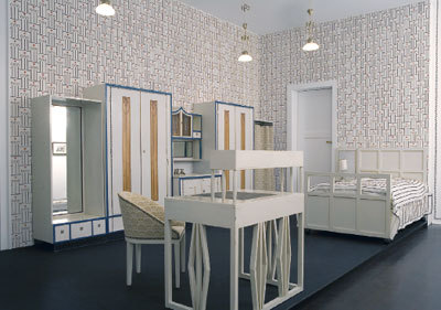 "View of ""Josef Hoffmann: Interiors, 1902–1913,"" 2006, Neue Galerie, New York. Re-creation of Biach bedroom, 1904. Photo: John Gilliland."