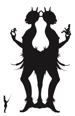 "Kara Walker, You Do, 1993/1994, cut paper on canvas, 55 x 49""."