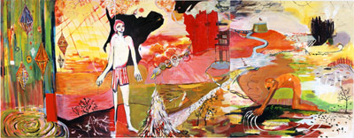 "Strange Dust, 2006, acrylic and oil on canvas, 84 x 216""."