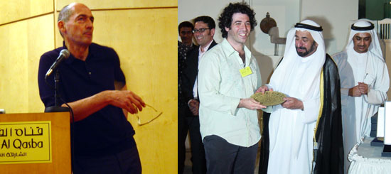 Left: Architect Rem Koolhaas. Right: Artist Michael Rakowitz with H. H. Sheikh Dr. Sultan bin Mohammed al-Qasimi, ruler of Sharjah. (Except where noted, all photos: Rafal Niemojewski)
