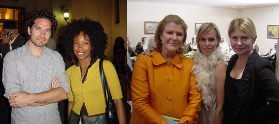 Left: Artist Kasper Akhoj and perfomer Namik Minter/ Donelle Woolford. Right: Manifesta International Foundation director Hedwig Fijen, Athens Biennial director Marieke Van Hal, and art adviser Victoria Anstead.