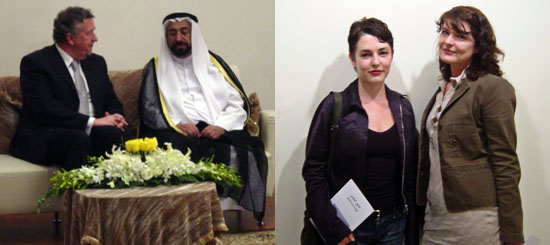 Left: Rolf Schnellecke, mayor of Wolfsburg, with H. H. Sheikh Dr. Sultan bin Mohammed al-Qasimi. Right: Artists Carey Young and Christine Sullivan.