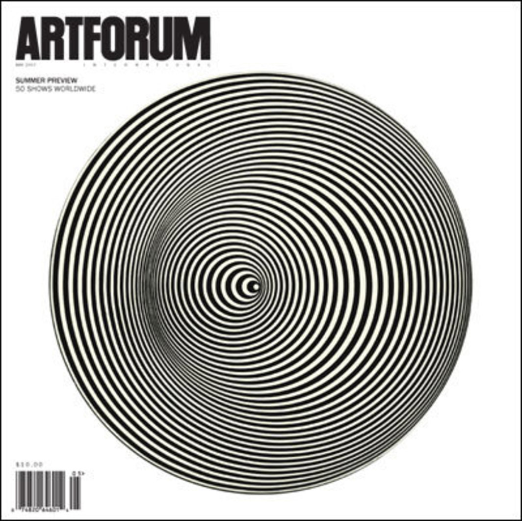"Cover: Marina Apollonio, Dinamica circolare (Circular Dynamics), 1968, painted wood disc and motor, 15 3/4 x 15 3/4""."