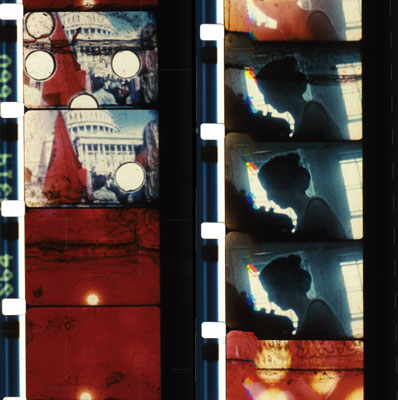 Saul Levine, New Left Note, 1968–82, strips from a color film in 8 mm, 27 minutes 45 seconds.