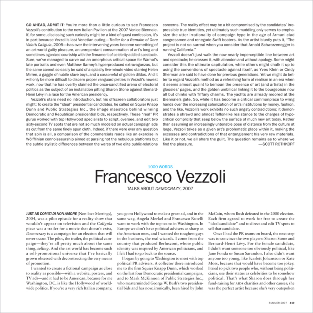 1000 WORDS: FRANCESCO VEZZOLI