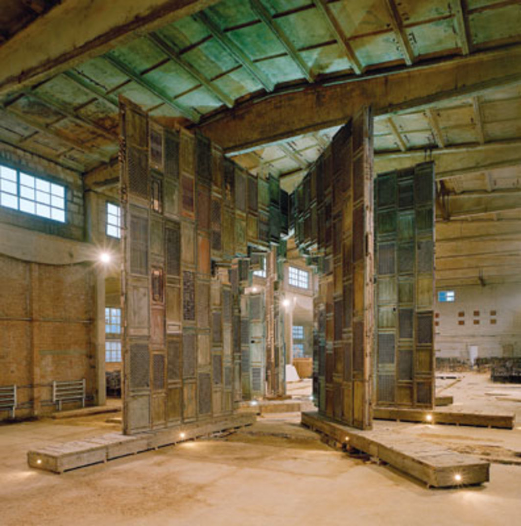 Ai Weiwei, Template, 2007, wooden doors and windows from Ming- and Qing-dynasty temples and wooden base. Installation view, Ai Weiwei's studio, Beijing.