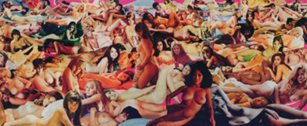 "Martha Rosler, Body Beautiful, or Beauty Knows No Pain: Hot House, or Harem, 1966–72, collage on paper, 20 x 48 1/2""."