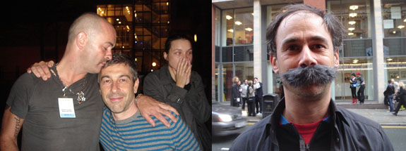 Left: Artists Douglas Gordon and Pierre Huyghe. Right: Choreographer Jérôme Bel. (Photos: Nicolas Trembley)