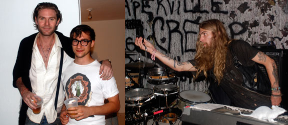 Left: Artists Dan Colen and Theo Rosenblum. Right: Artist Dash Snow. (All photos: David Velasco)
