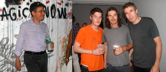 Left: Dealer Jeffrey Deitch. Right: Artist Nate Lowman, curator Neville Wakefield, and artist Adam McEwen.