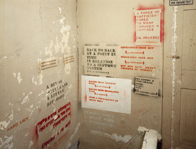 Hallway of Lawrence Weiner's Bleecker Street studio, New York, 1988. Photo: Tom Warren.